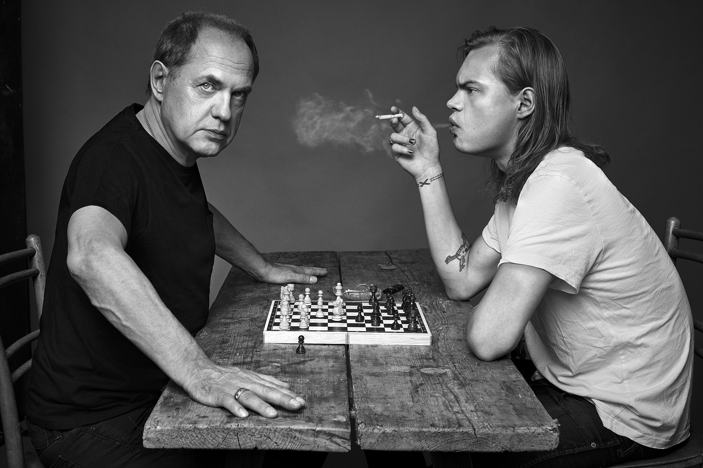 Uwe und Wilson-Gonzalez Ochsenknecht am 17.08.2015 im Studio Kraehahn Berlin